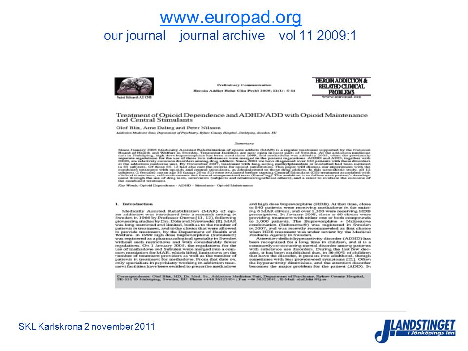 www.europad.org our journal journal archive vol 11 2009:1