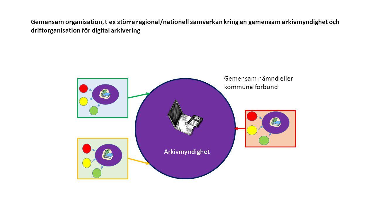 Gemensam organisation, t ex större regional/nationell samverkan kring en gemensam arkivmyndighet och driftorganisation för digital arkivering