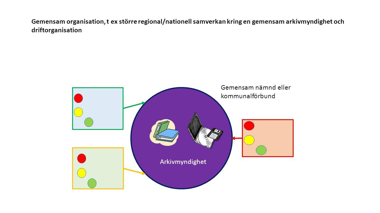 Gemensam organisation, t ex större regional/nationell samverkan kring en gemensam arkivmyndighet och driftorganisation