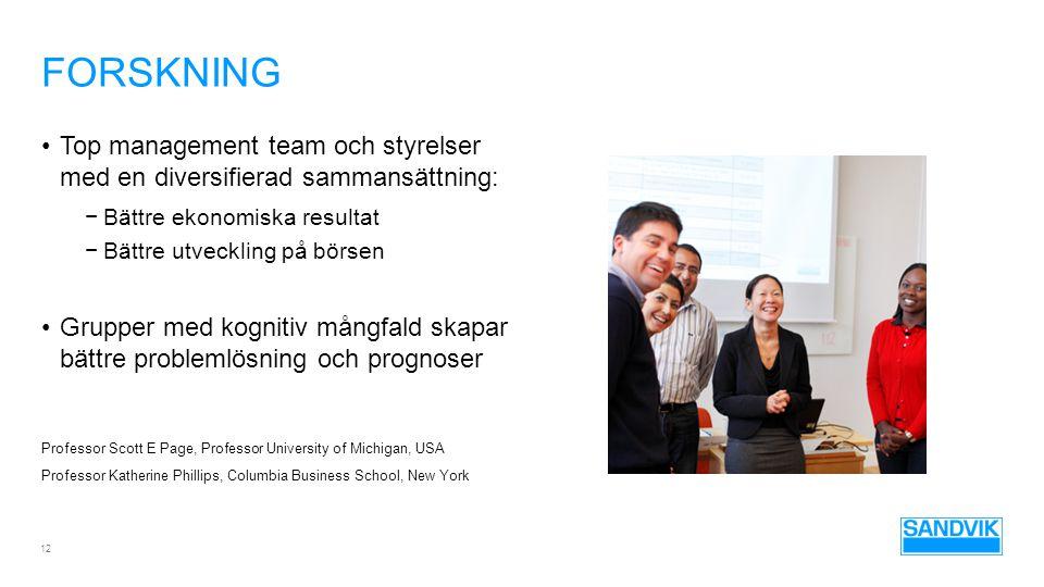 Forskning Top management team och styrelser med en diversifierad sammansättning: Bättre ekonomiska resultat.