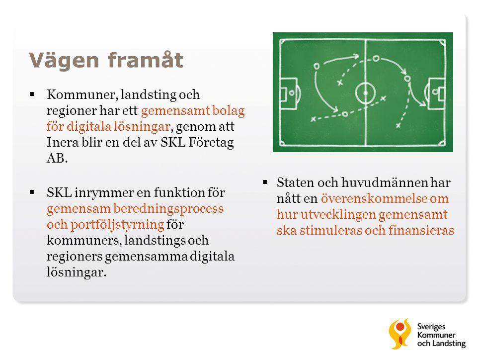 Vägen framåt Kommuner, landsting och regioner har ett gemensamt bolag för digitala lösningar, genom att Inera blir en del av SKL Företag AB.