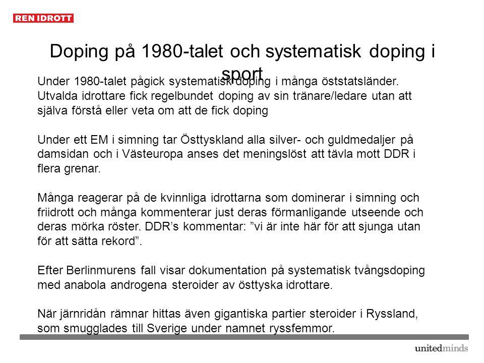 Doping på 1980-talet och systematisk doping i sport
