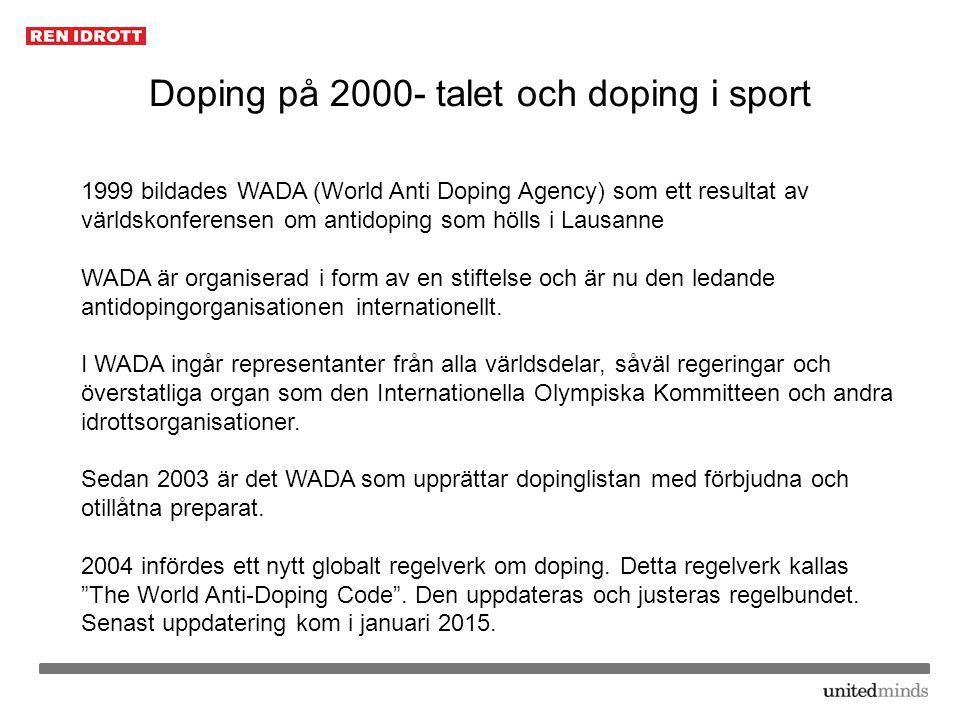 Doping på 2000- talet och doping i sport
