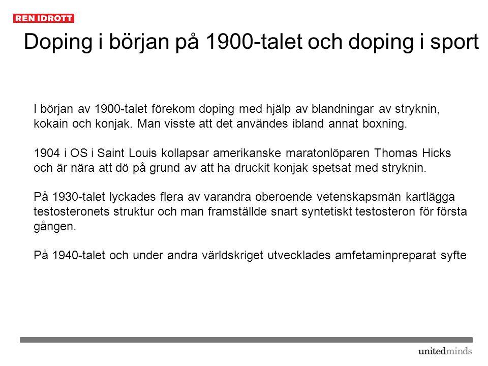 Doping i början på 1900-talet och doping i sport