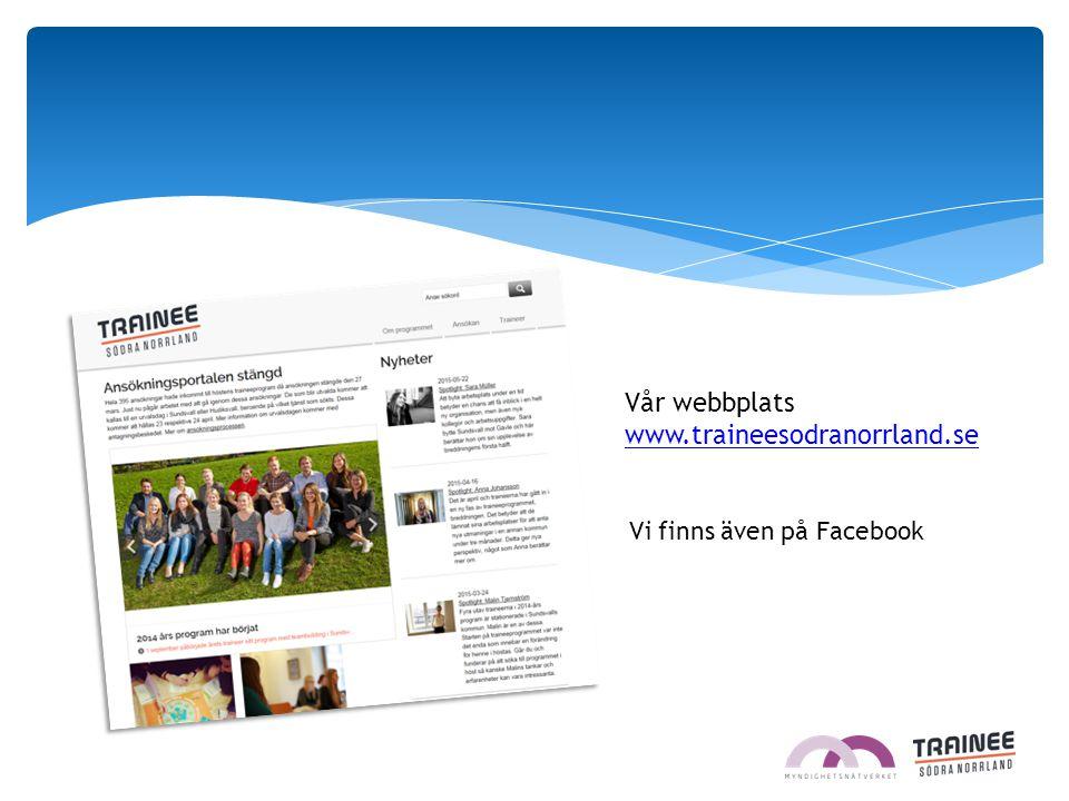 Vår webbplats www.traineesodranorrland.se