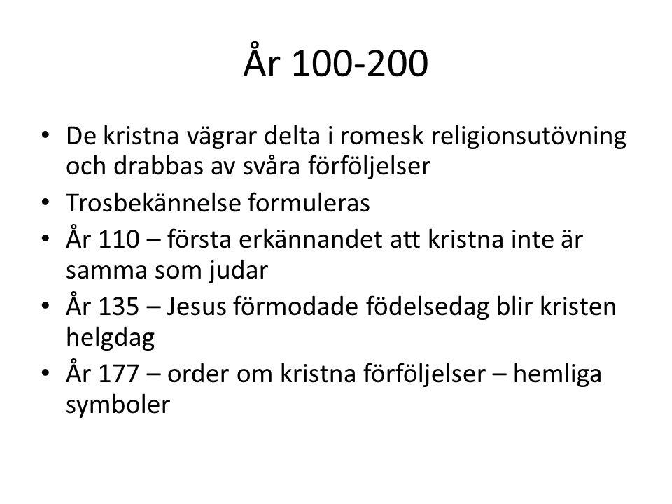 År 100-200 De kristna vägrar delta i romesk religionsutövning och drabbas av svåra förföljelser. Trosbekännelse formuleras.