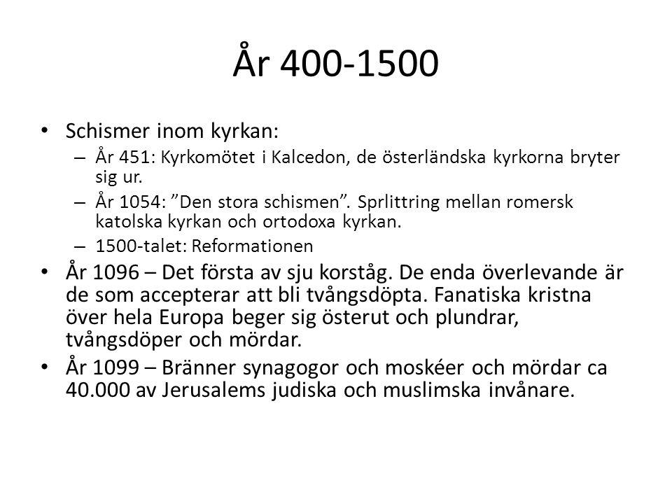 År 400-1500 Schismer inom kyrkan: