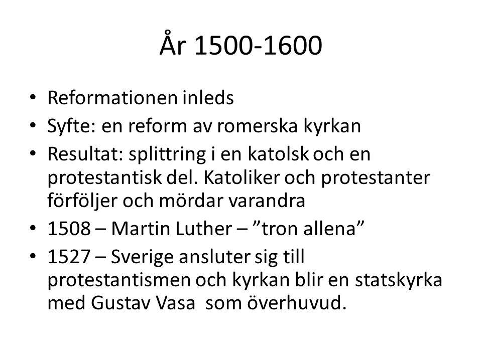 År 1500-1600 Reformationen inleds Syfte: en reform av romerska kyrkan