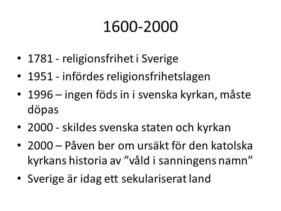 1600-2000 1781 - religionsfrihet i Sverige