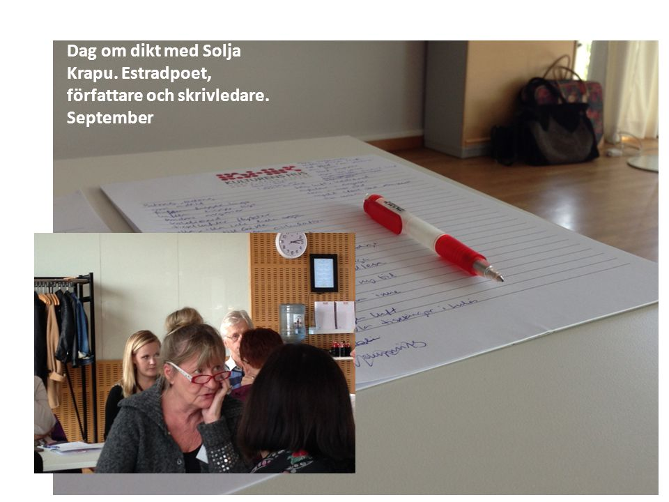 Dag om dikt med Solja Krapu. Estradpoet, författare och skrivledare