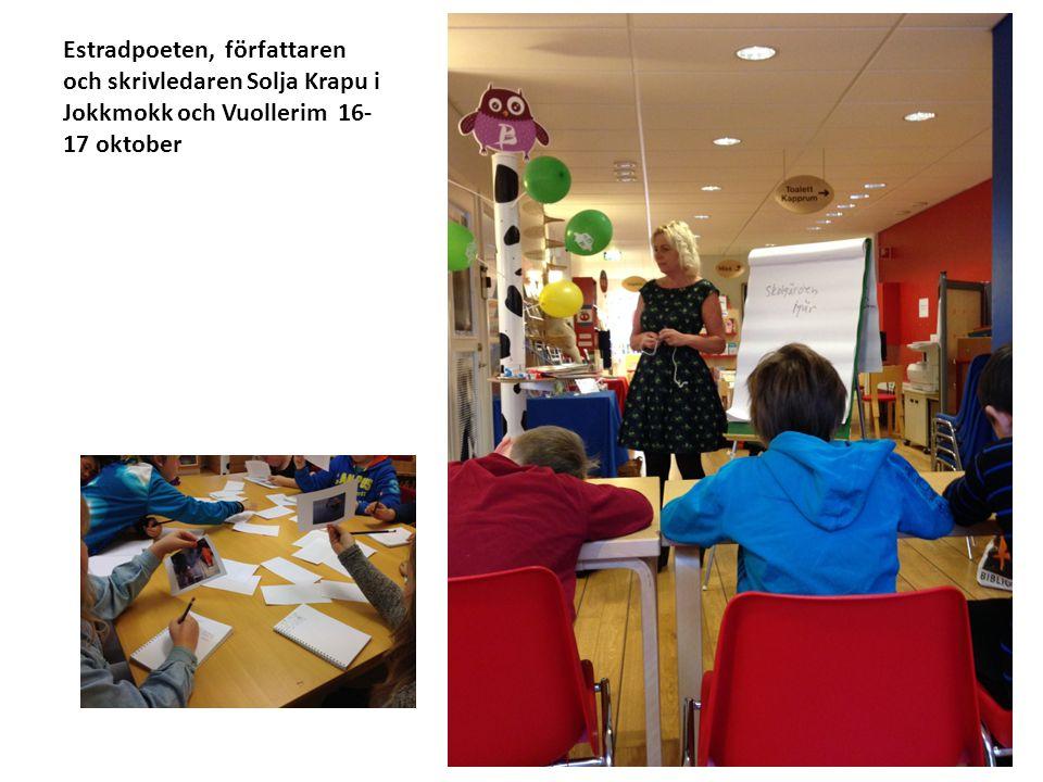 Estradpoeten, författaren och skrivledaren Solja Krapu i Jokkmokk och Vuollerim 16-17 oktober