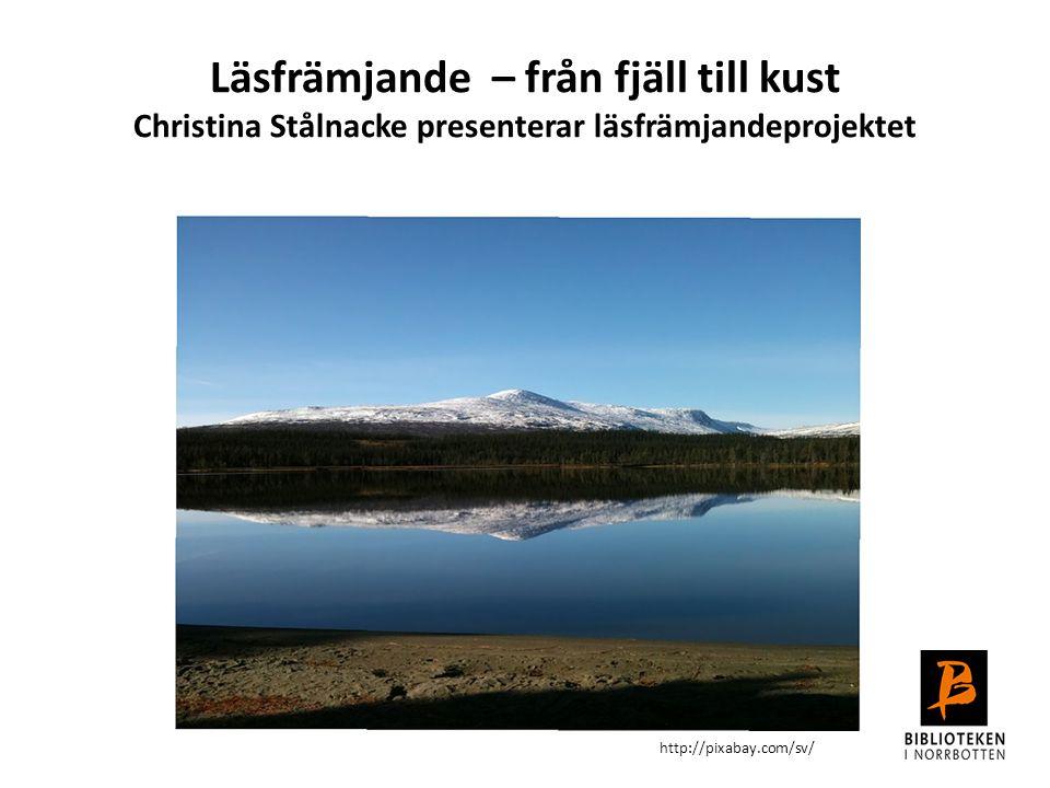Läsfrämjande – från fjäll till kust Christina Stålnacke presenterar läsfrämjandeprojektet