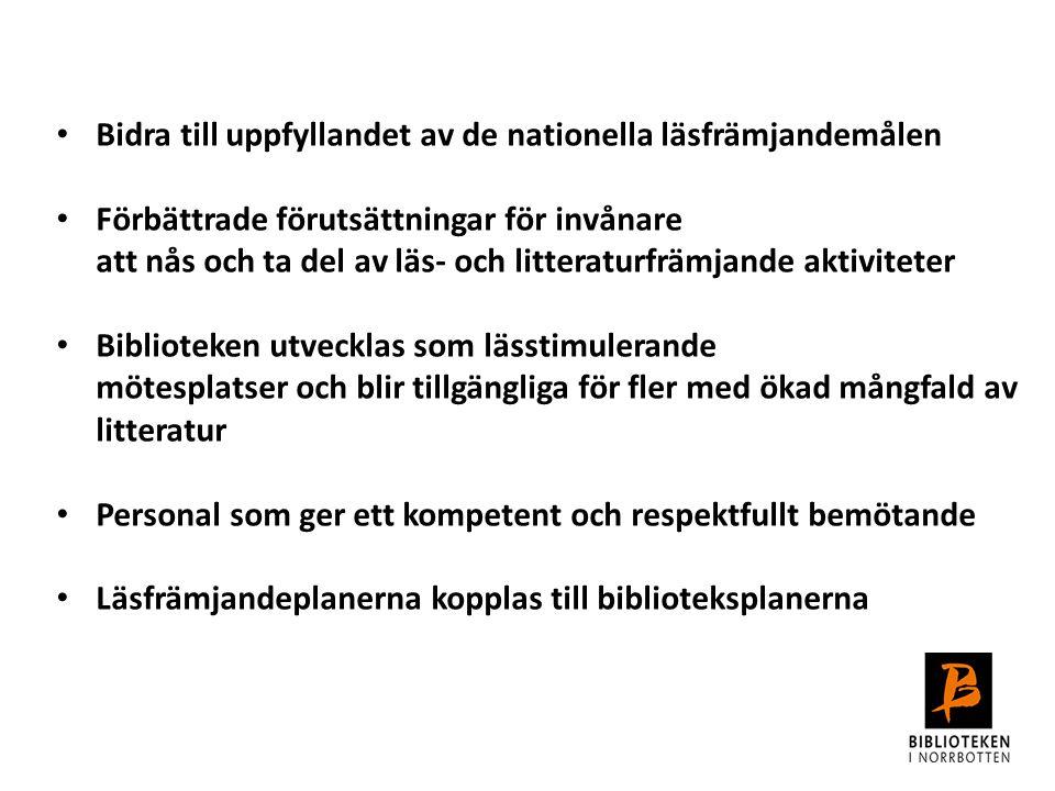Bidra till uppfyllandet av de nationella läsfrämjandemålen