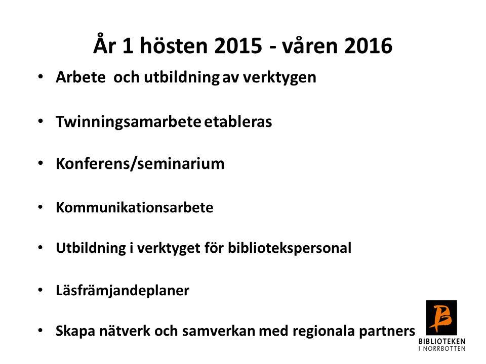År 1 hösten 2015 - våren 2016 Arbete och utbildning av verktygen