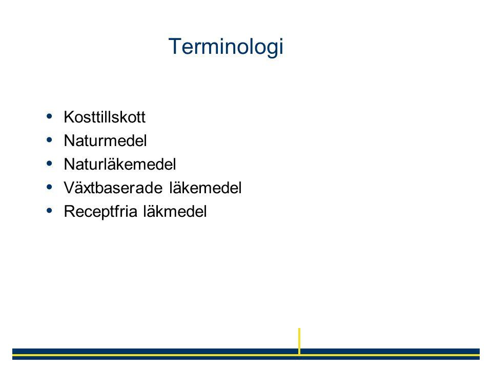 Terminologi Kosttillskott Naturmedel Naturläkemedel