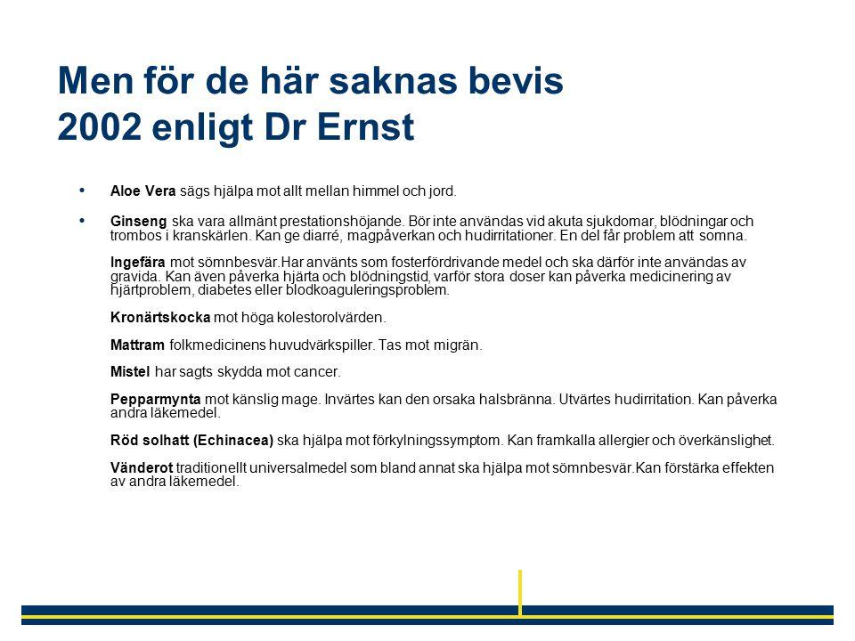 Men för de här saknas bevis 2002 enligt Dr Ernst