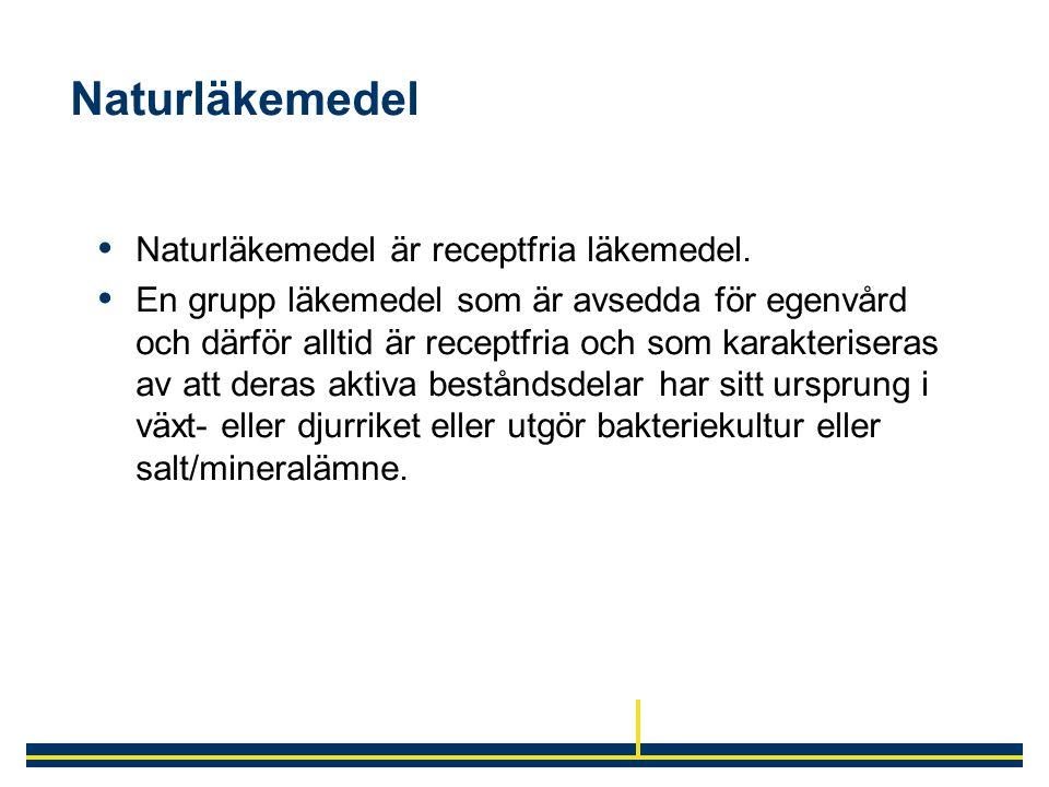 Naturläkemedel Naturläkemedel är receptfria läkemedel.