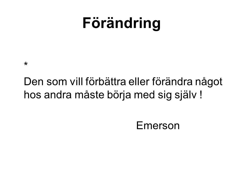 Förändring * Den som vill förbättra eller förändra något hos andra måste börja med sig själv ! Emerson.