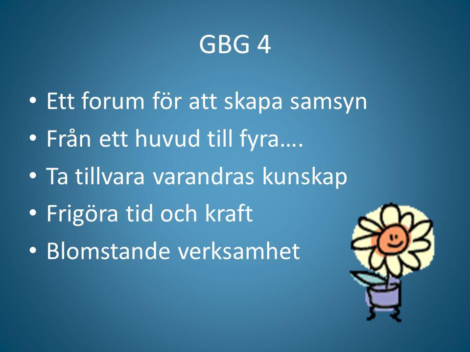 GBG 4 Ett forum för att skapa samsyn Från ett huvud till fyra….