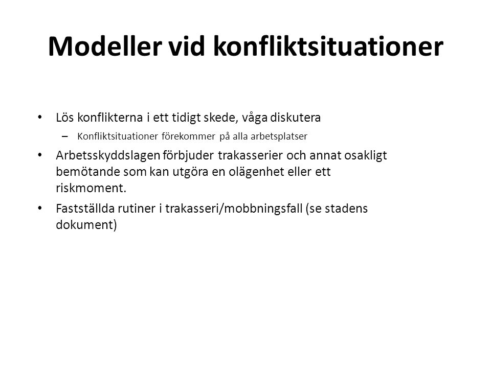 Modeller vid konfliktsituationer