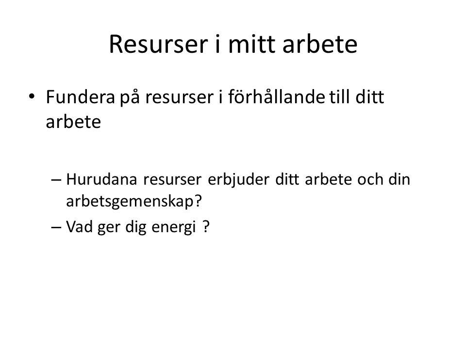 Resurser i mitt arbete Fundera på resurser i förhållande till ditt arbete. Hurudana resurser erbjuder ditt arbete och din arbetsgemenskap