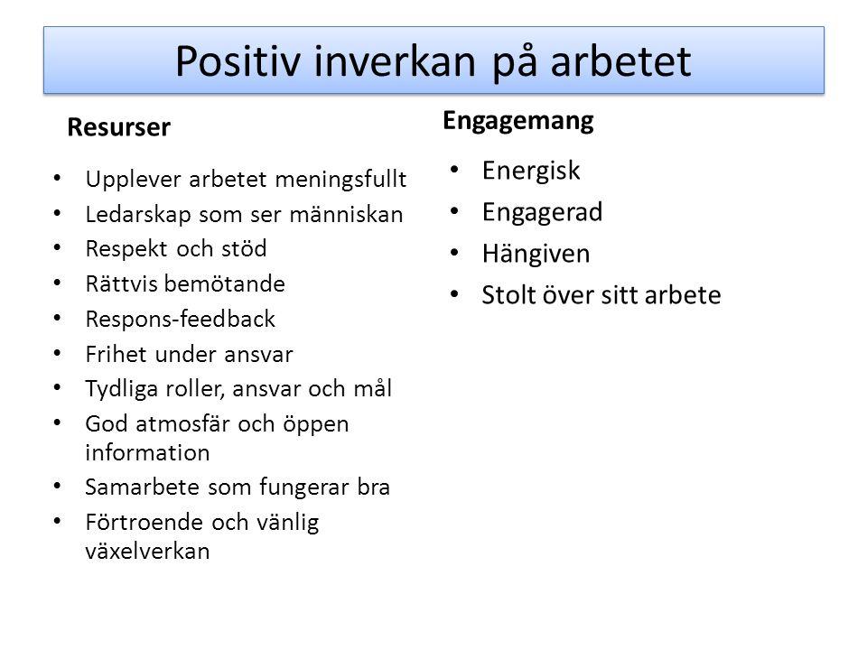 Positiv inverkan på arbetet