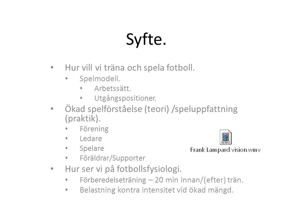 Syfte. Hur vill vi träna och spela fotboll.