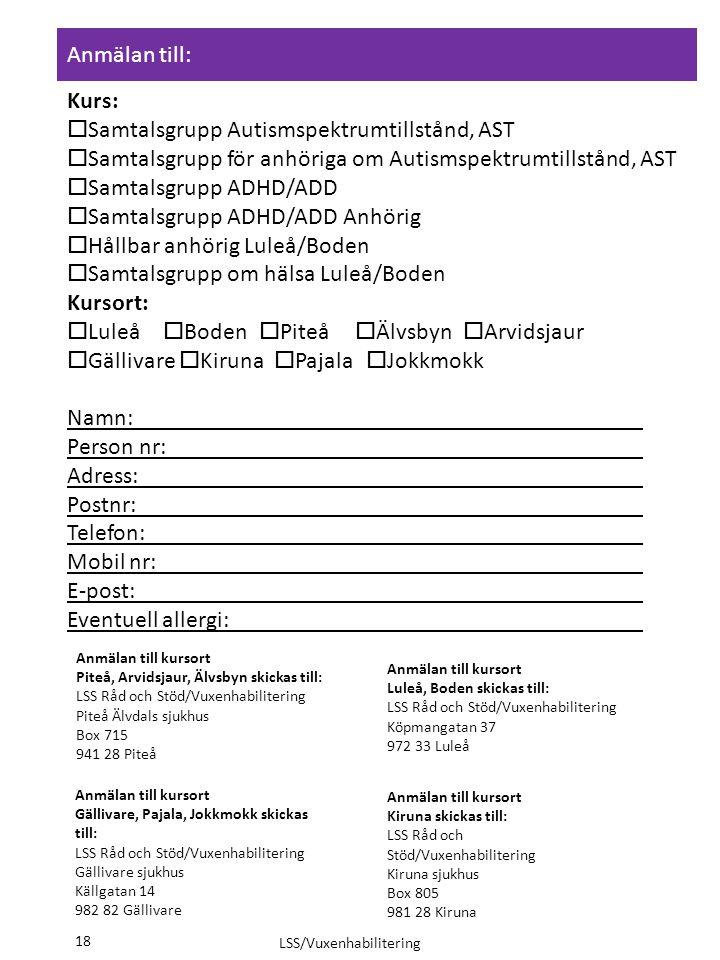 Samtalsgrupp ADHD/ADD Anhörig Hållbar anhörig Luleå/Boden