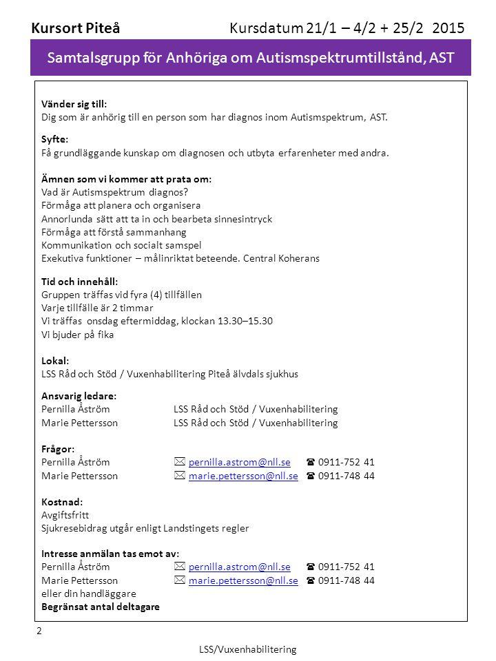 Samtalsgrupp för Anhöriga om Autismspektrumtillstånd, AST