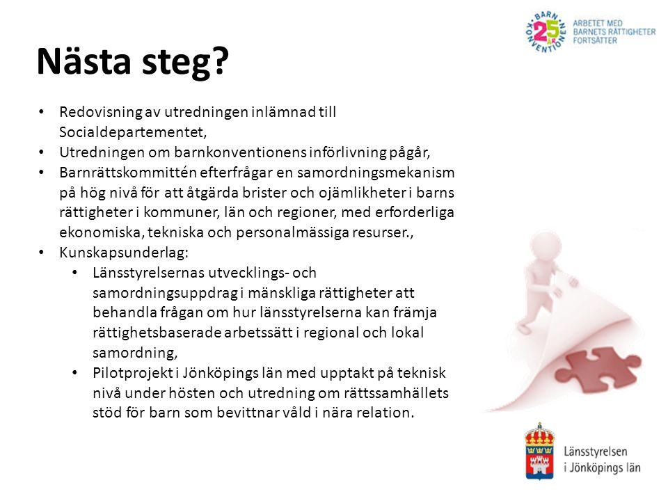 Nästa steg Redovisning av utredningen inlämnad till Socialdepartementet, Utredningen om barnkonventionens införlivning pågår,