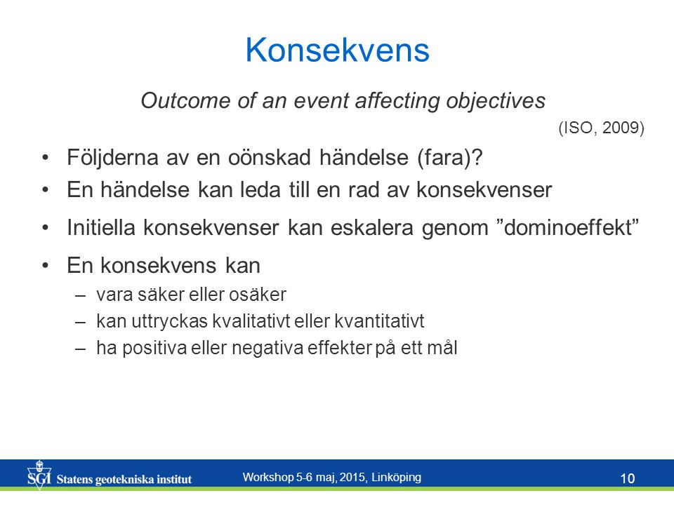 Outcome of an event affecting objectives