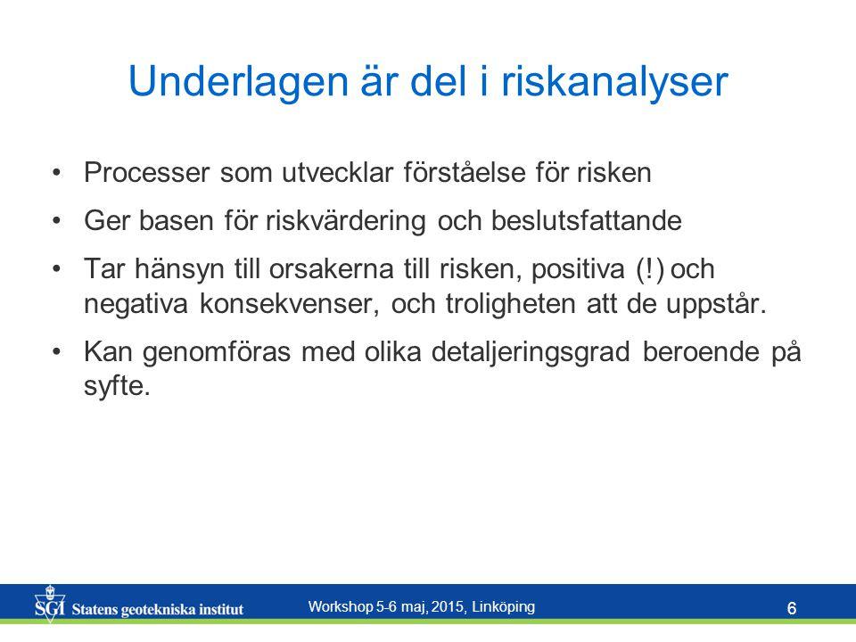 Underlagen är del i riskanalyser