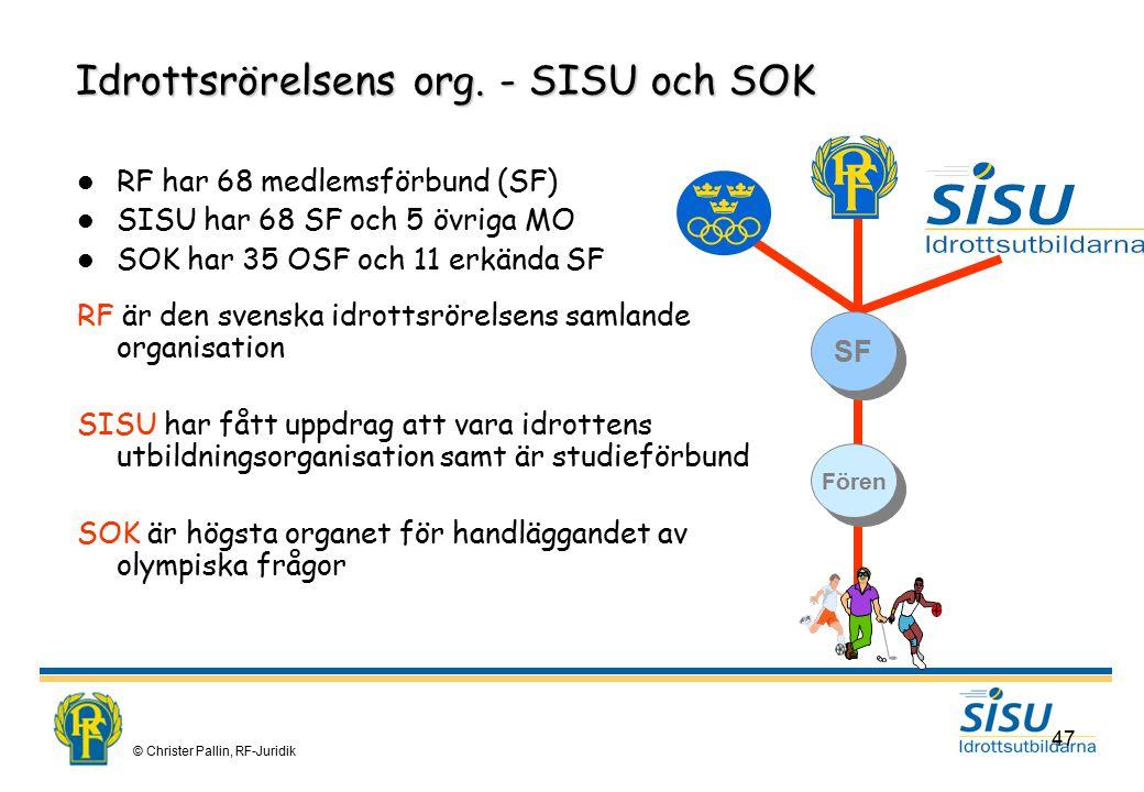Idrottsrörelsens org. - SISU och SOK