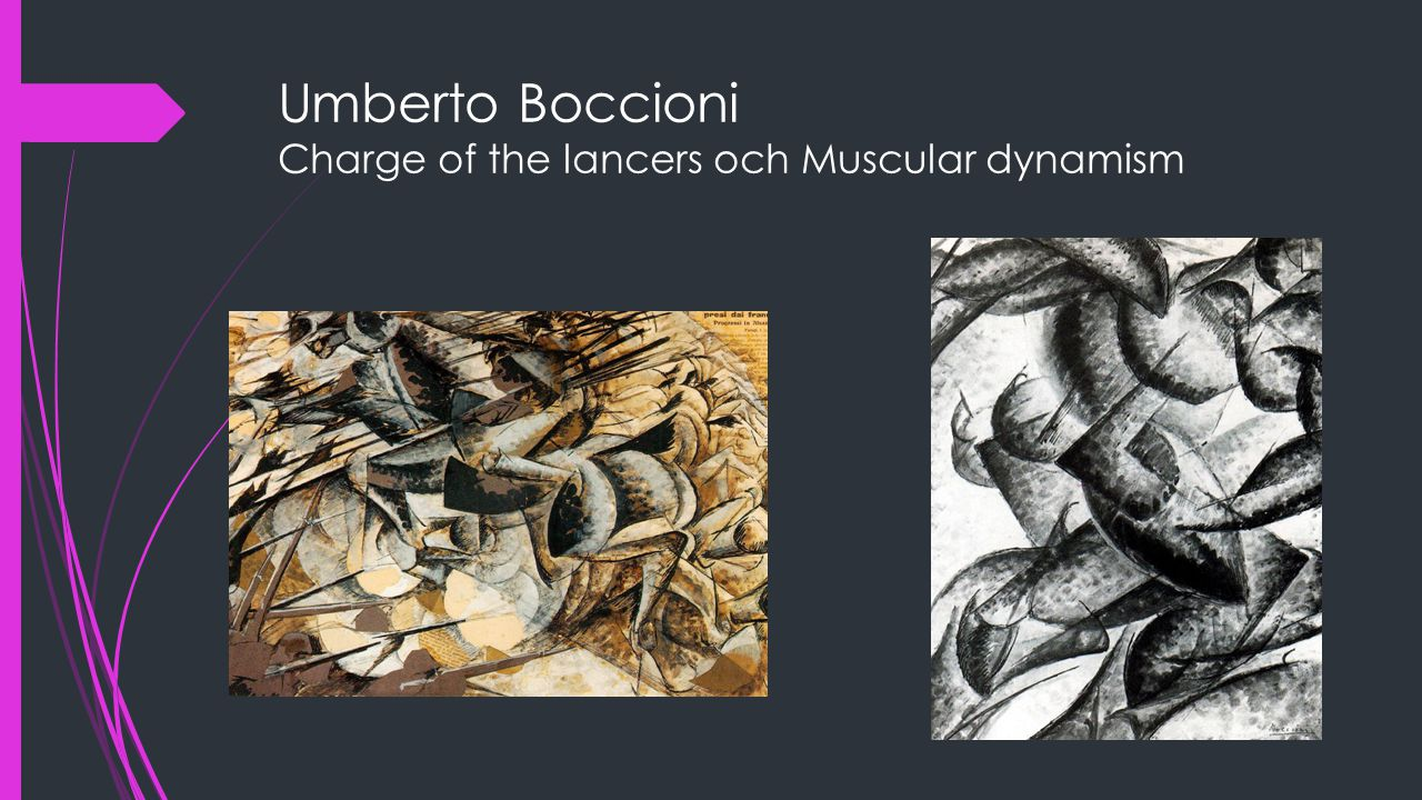 Umberto Boccioni Charge of the lancers och Muscular dynamism