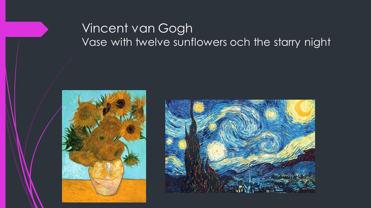 Vincent van Gogh Vase with twelve sunflowers och the starry night