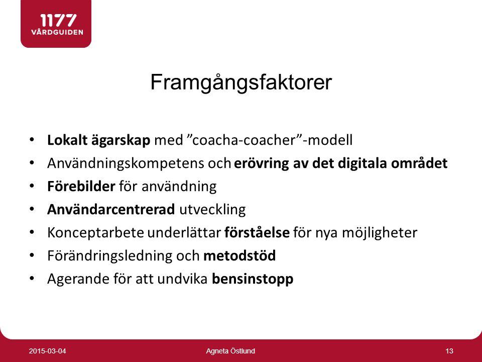 Framgångsfaktorer Lokalt ägarskap med coacha-coacher -modell