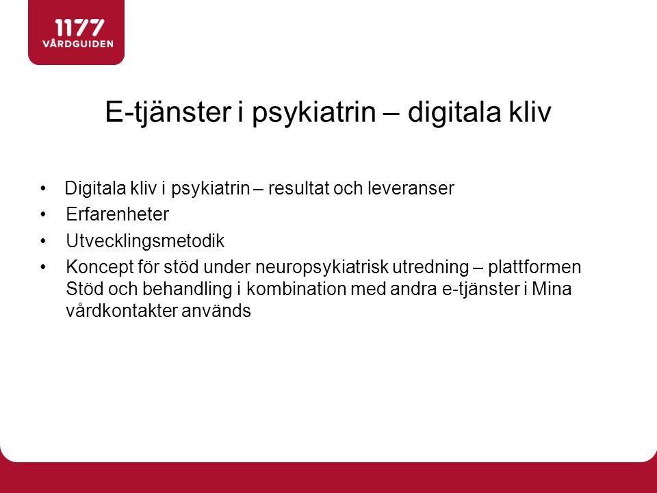 E-tjänster i psykiatrin – digitala kliv