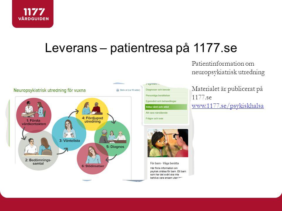 Leverans – patientresa på 1177.se