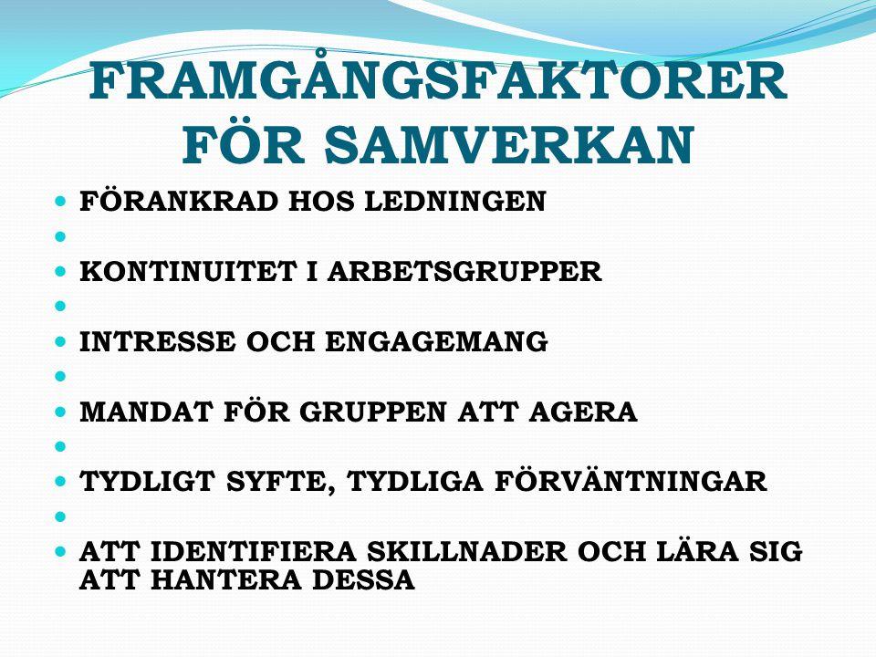 FRAMGÅNGSFAKTORER FÖR SAMVERKAN