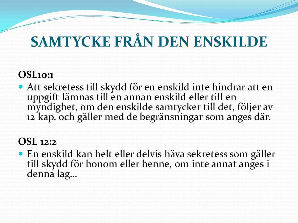 SAMTYCKE FRÅN DEN ENSKILDE