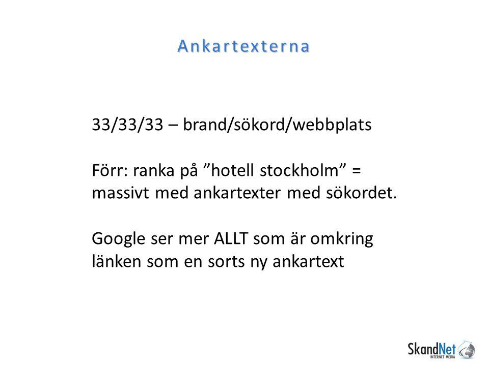 Ankartexterna 33/33/33 – brand/sökord/webbplats. Förr: ranka på hotell stockholm = massivt med ankartexter med sökordet.