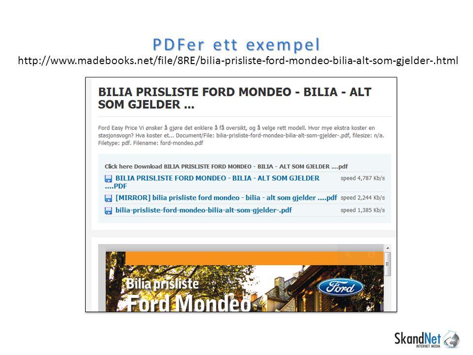 PDFer ett exempel http://www.madebooks.net/file/8RE/bilia-prisliste-ford-mondeo-bilia-alt-som-gjelder-.html.