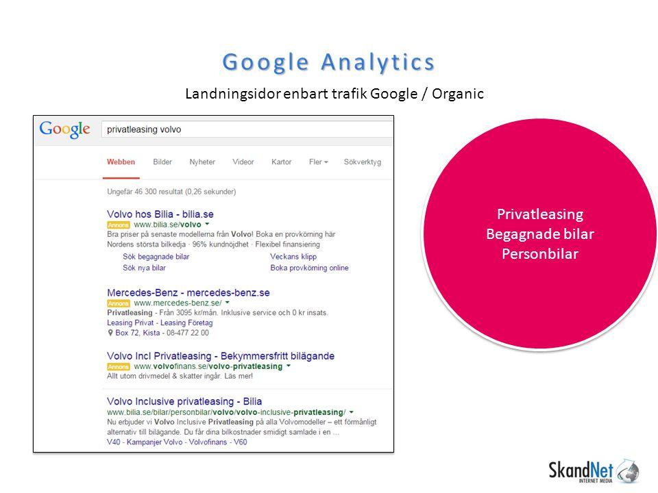 Google Analytics Landningsidor enbart trafik Google / Organic
