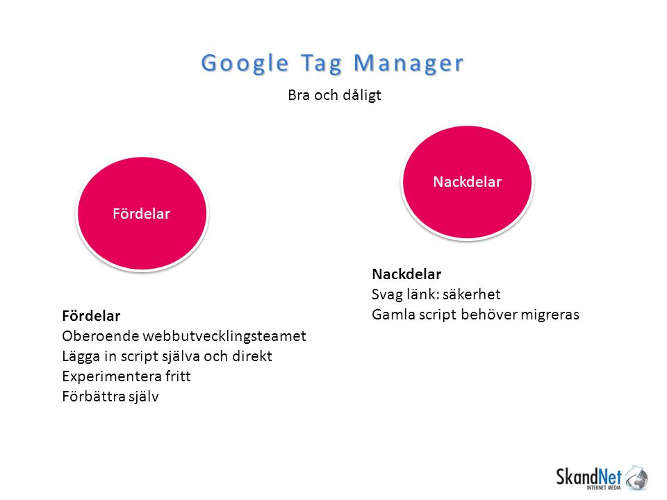 Google Tag Manager Bra och dåligt Nackdelar Fördelar Nackdelar