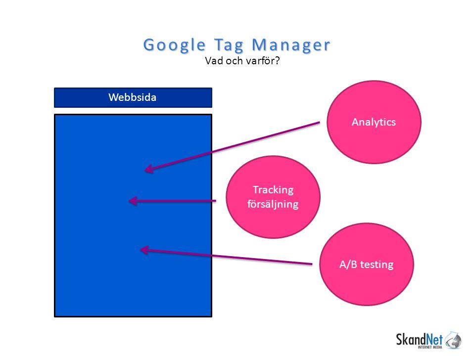 Google Tag Manager Vad och varför Webbsida Analytics
