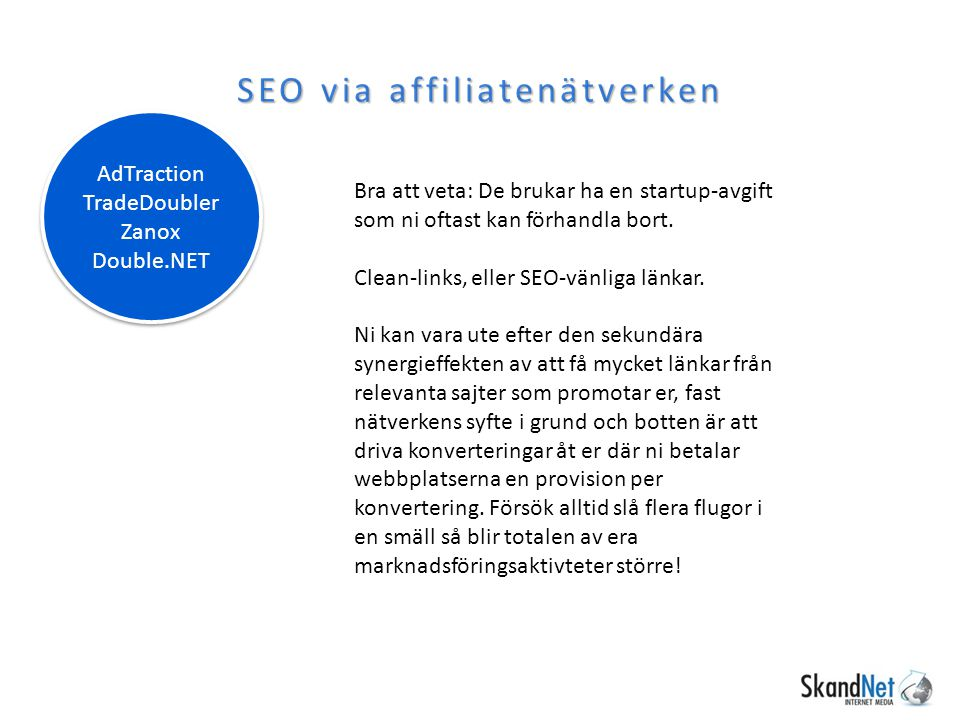 SEO via affiliatenätverken