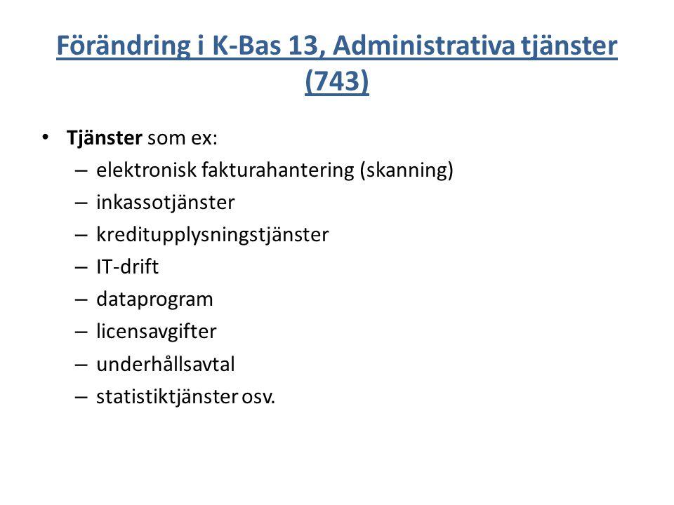 Förändring i K-Bas 13, Administrativa tjänster (743)