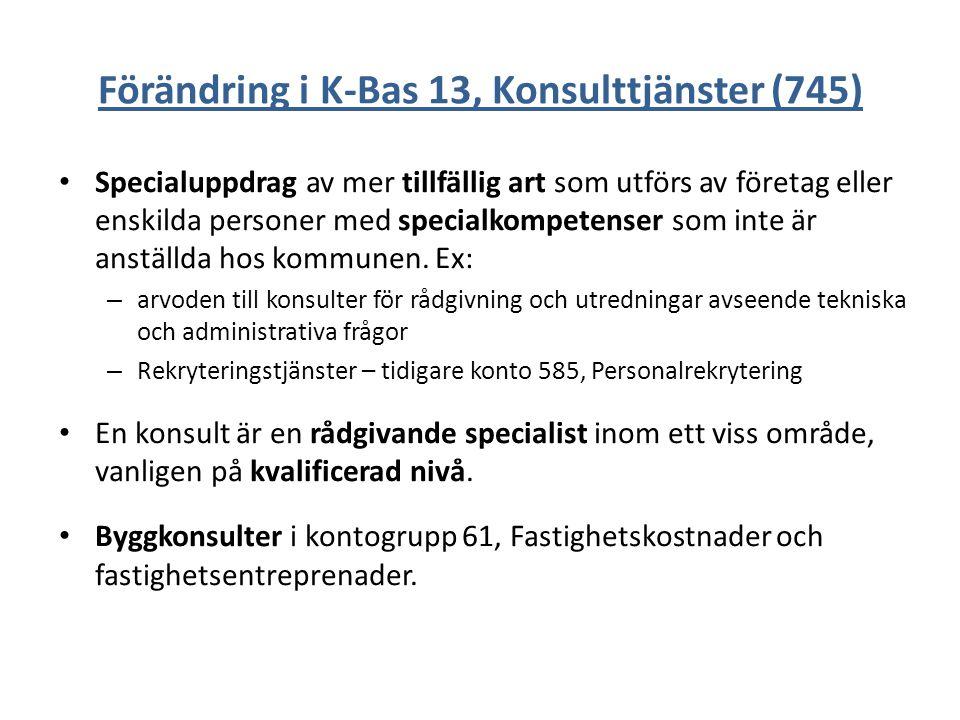 Förändring i K-Bas 13, Konsulttjänster (745)
