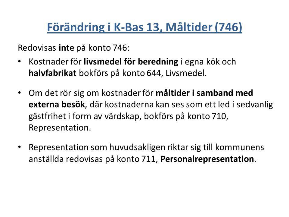 Förändring i K-Bas 13, Måltider (746)