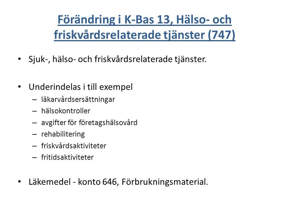 Förändring i K-Bas 13, Hälso- och friskvårdsrelaterade tjänster (747)